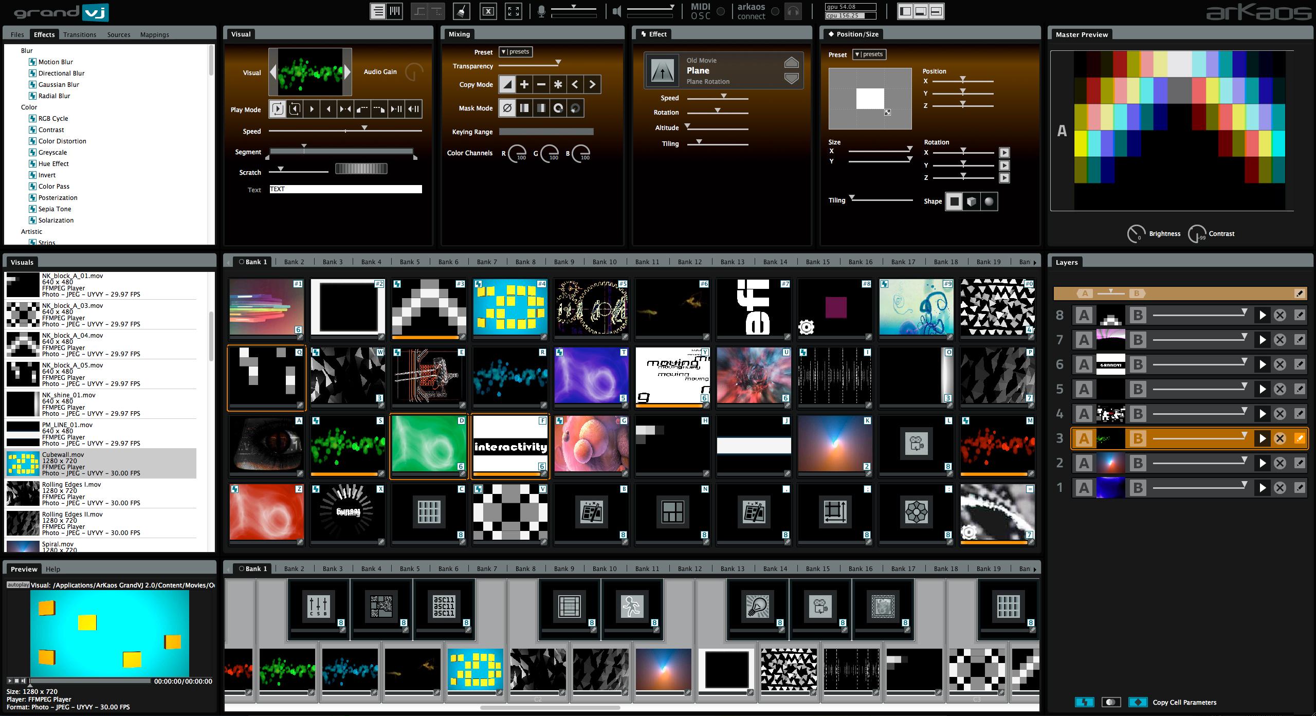GrandVJ VJ software and live video mixer with flexible MIDI