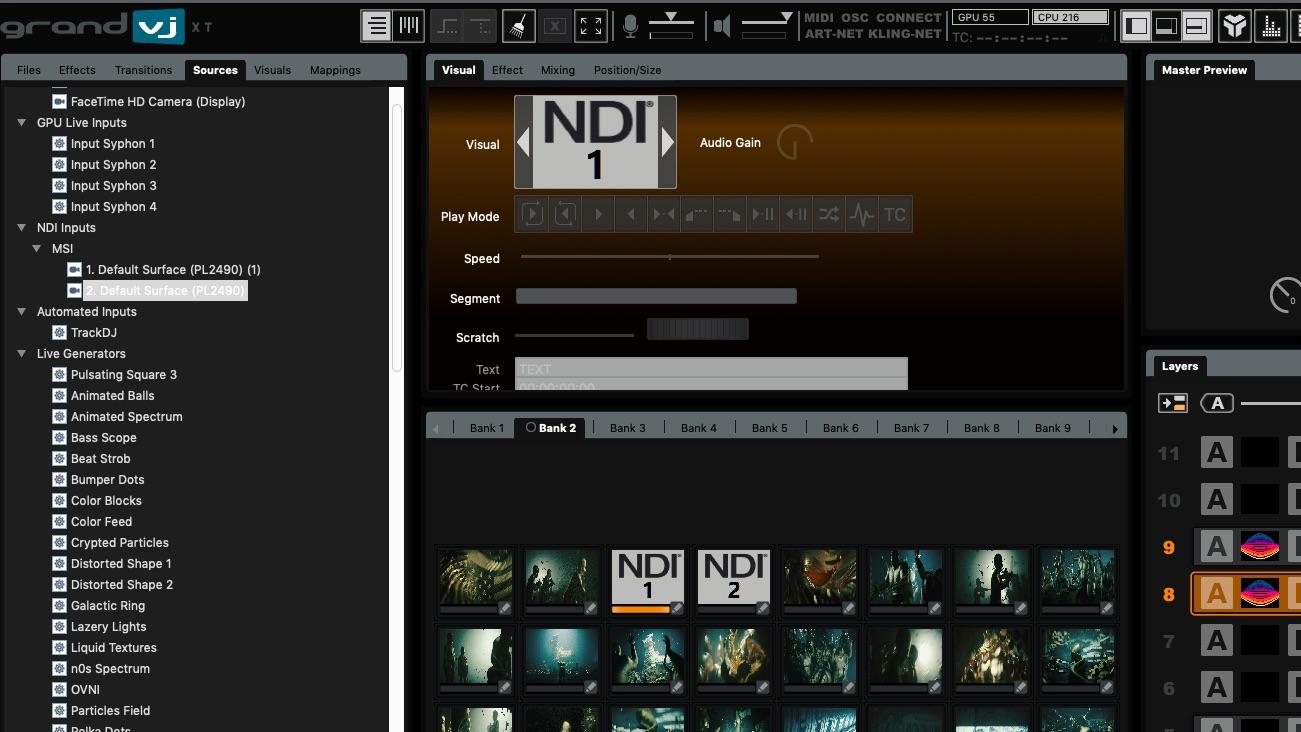 GrandVJ XT support NDI