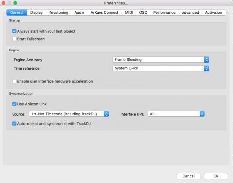 grandvj trackdj Art-Net timecode preferences